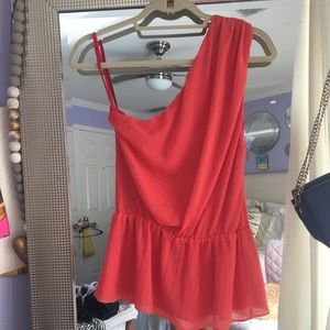 Alice and Olivia one shoulder top red/salmon S/P